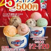5ディップ500円!?ブルーシールが3月20日まで平日限定企画を実施中!
